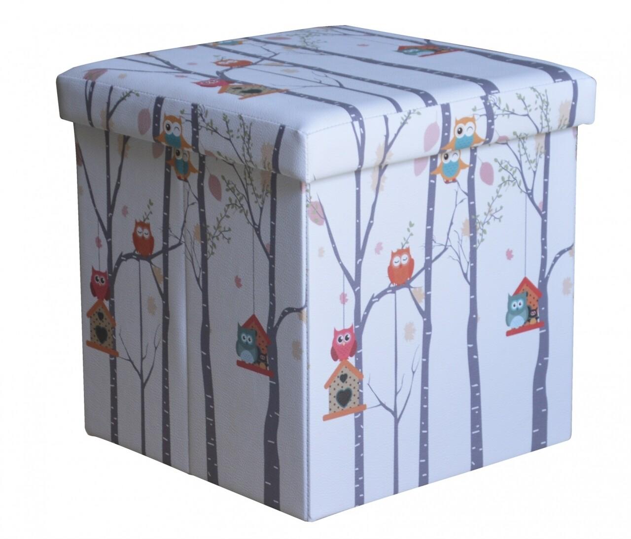 Taburet pliabil cu spatiu de depozitare Small Owls, Heinner Home, 37.5 x 38 x 38 cm, PVC, multicolor