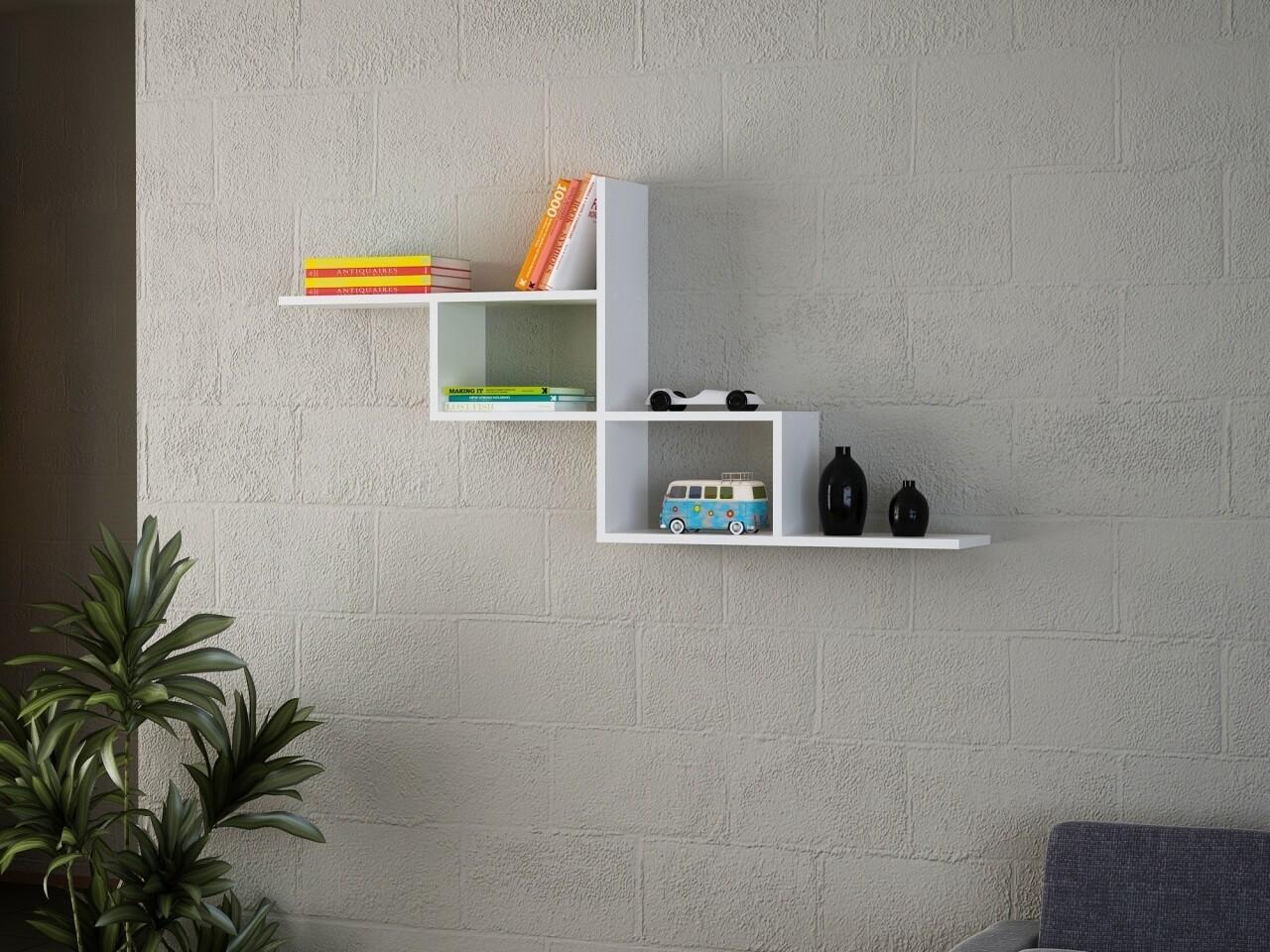 Raft pentru perete, Wooden Art, White, 144.6x71.4x22 cm