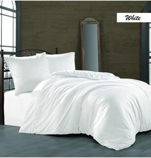 Lenjerie de pat dubla White, Majoli Home Collection, 4 piese, 240x260 cm, bumbac satinat, alb