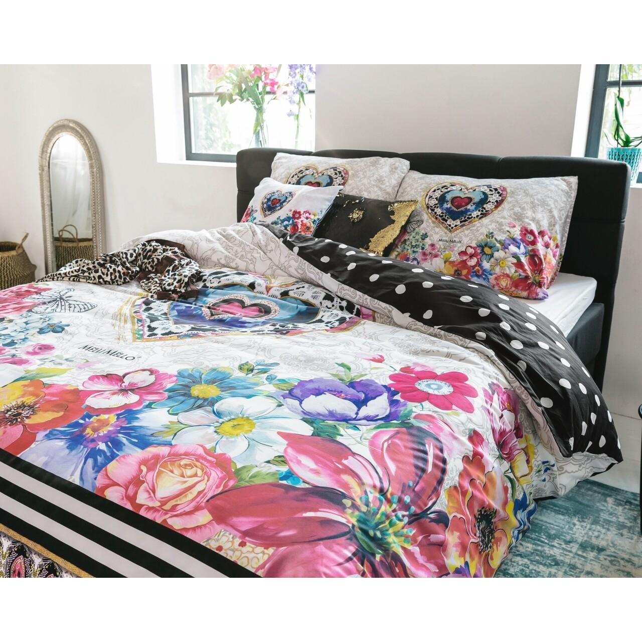 Lenjerie de pat dubla Amira White, Melli Mello, 3 piese, 200 x 220 cm, 100% bumbac satinat, multicolora