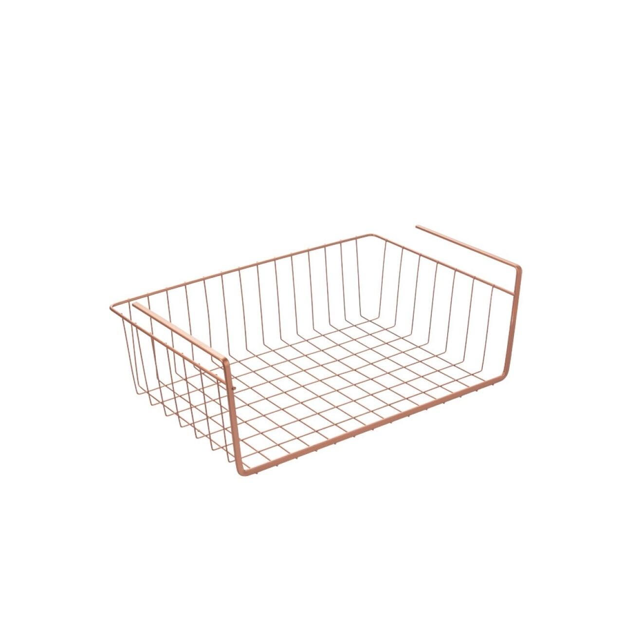Suport depozitare pentru raft, Kanguro Copper, Metaltex, 14 x 26 x 40 cm, inox/invelis Polytherm, cupru