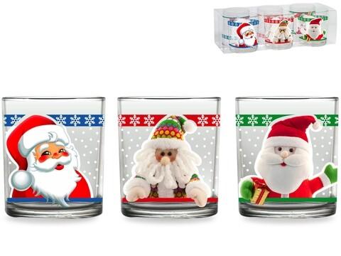 Set 6 pahare de apa Santa Clause, Pengo, 230 ml, sticla