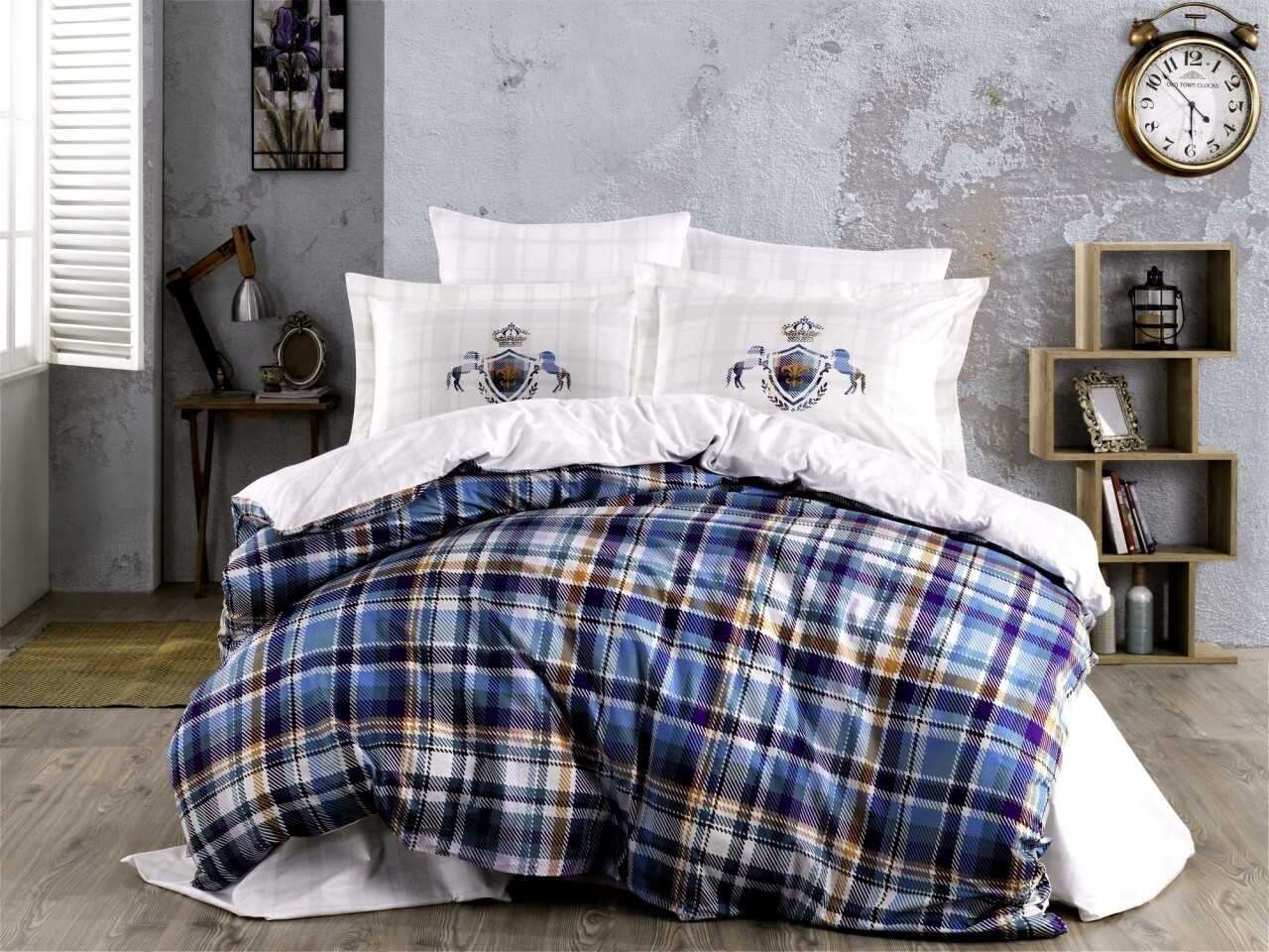 Lenjerie de pat pentru o persoana, 3 piese, 100% bumbac poplin, Hobby, Adalia Royal, multicolora