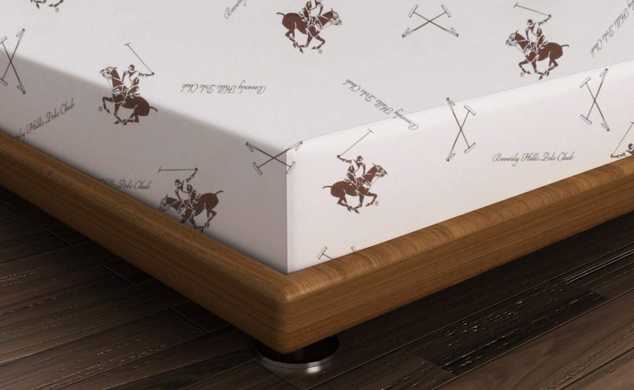 Cearceaf de pat dublu BHPC 029 - Brown, Beverly Hills Polo Club, 240x260 cm, 100% bumbac ranforce, alb/maro