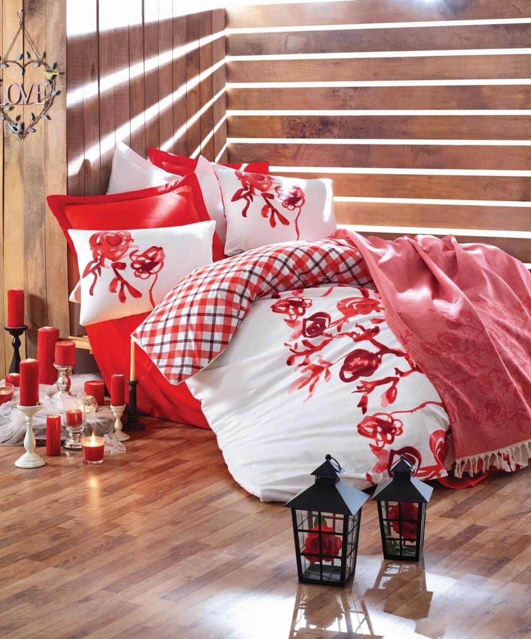 Set lenjerie de pat dubla Scarlet + pled dublu, Cotton Box, 4 piese, 220 x 230 cm, 100% bumbac ranforce, alb/rosu