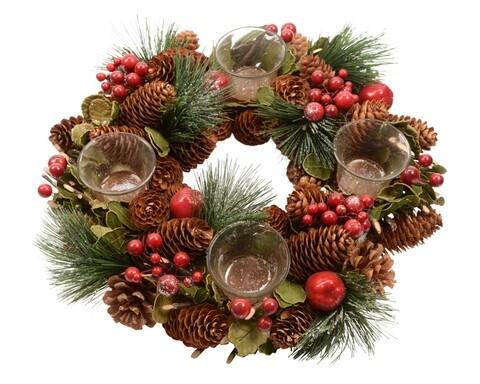 Coronita decorativa cu 4 suporturi pentru lumanari Berry, Decoris, multicolor