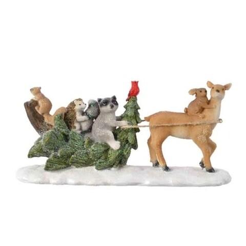 Decoratiune Tree sleigh w deer, Decoris, 24.5x8.5x11.5 cm, poliamida, multicolor