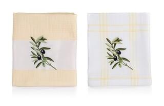 Set 2 prosoape de bucatarie Olives, Banquet, 45x70 cm, bumbac