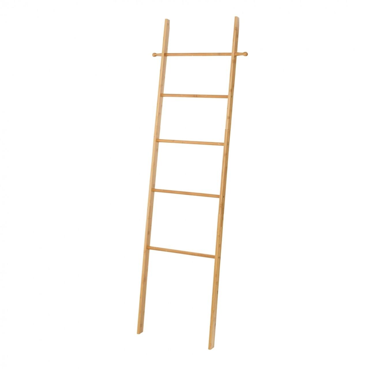 Suport pentru rufe si prosoape Ladder, Wenko, 43 x 170 cm, bambus, natur