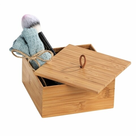 Cutie depozitare cu capac pentru baie, Wenko Terra M, bambus