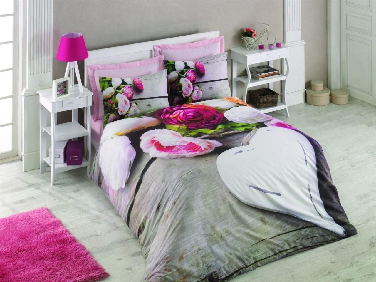 Lenjerie de pat dubla Florenta, Cotton Box, 4 piese, 240 x 260 cm, 100% bumbac ranforce, multicolora