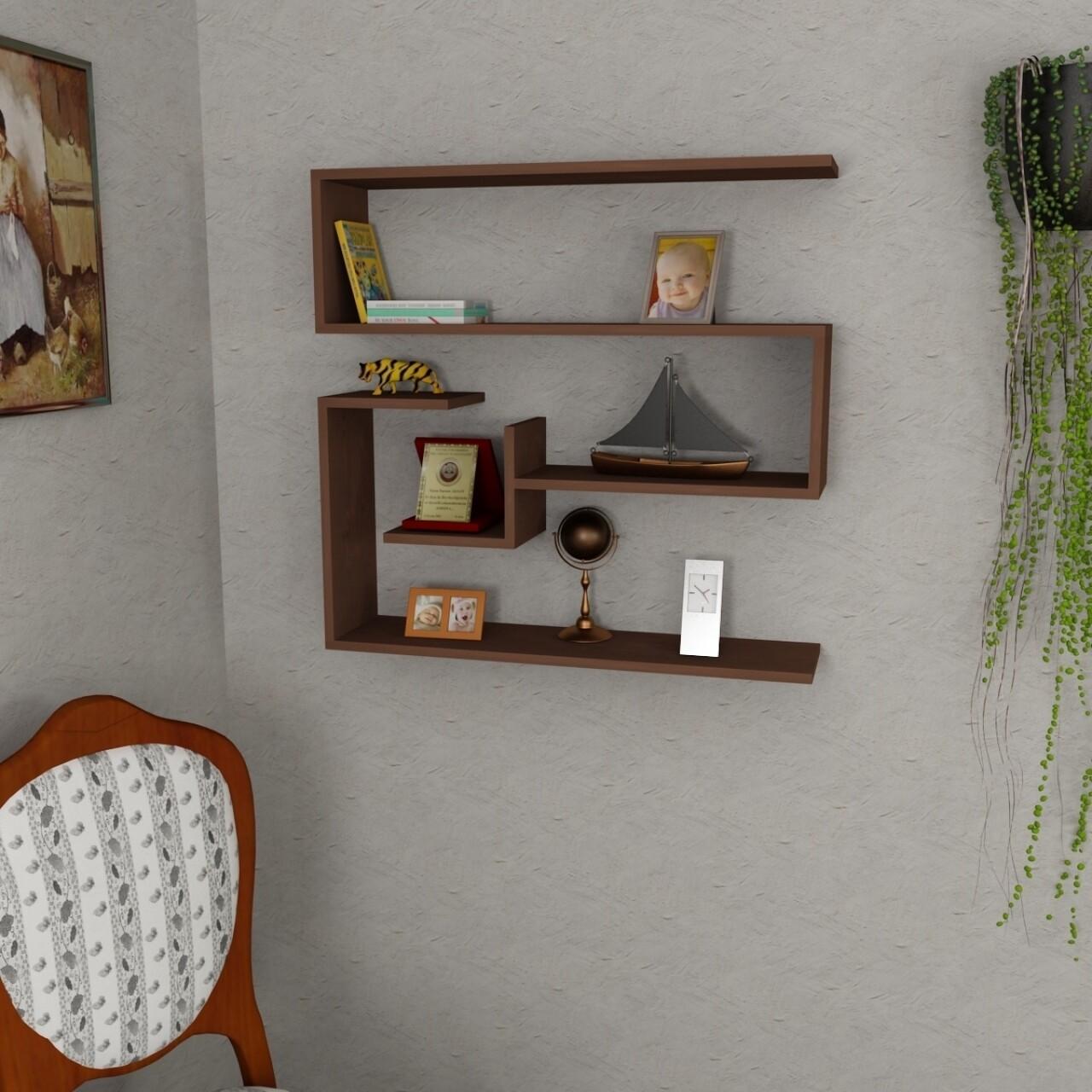 Raft pentru perete, Wooden Art, Confier Wenge, 90x87x22 cm