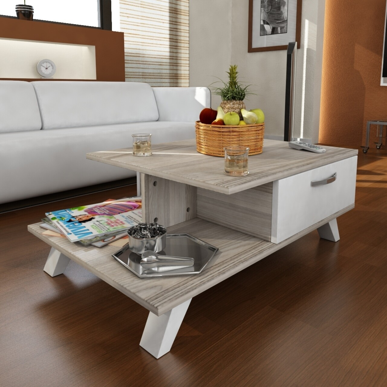 Masuta pentru living, Wooden Art, Arsenal White Cordoba, 90x33x60 cm