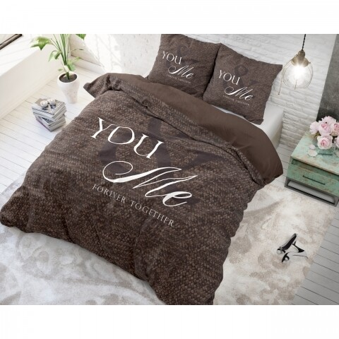 Lenjerie de pat pentru doua persoane Love for you and me Taupe, Royal Textile,  100% bumbac
