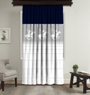 Draperie Beverly Hills Polo Club, 140x260, 100% poliester, Blue/White/Grey