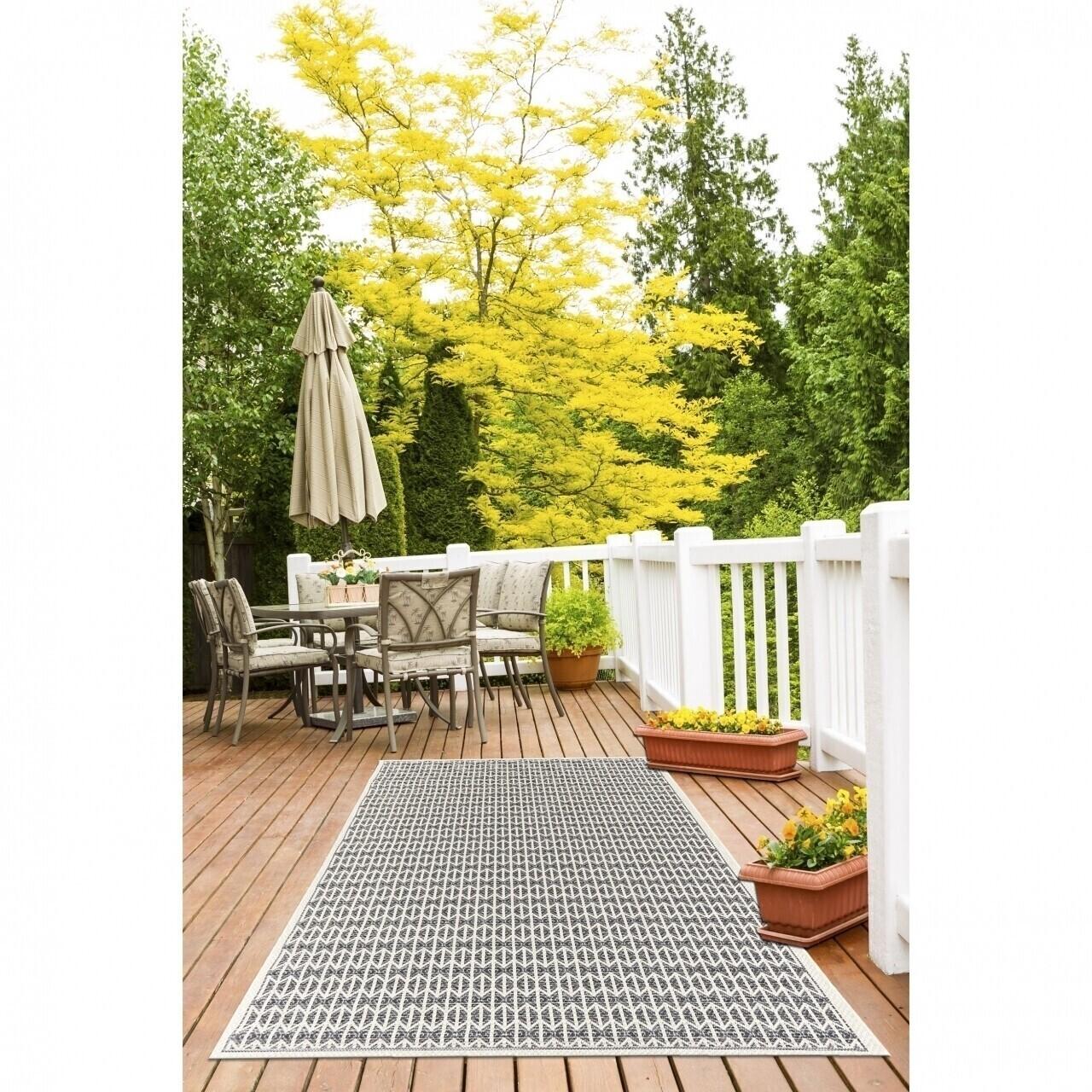 Covor indoor outdoor Floorita STUOIA ECRU BLACK 155X230