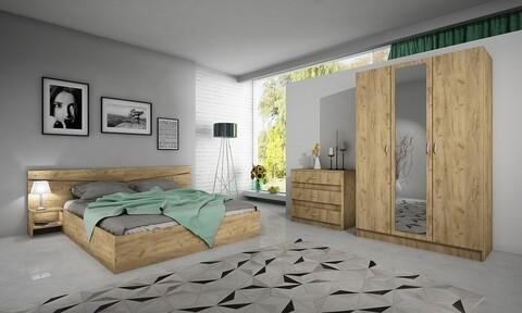 Mobilier dormitor, Bedora, City 7000 A642, pat + dulap + comoda, PAL, maro deschis