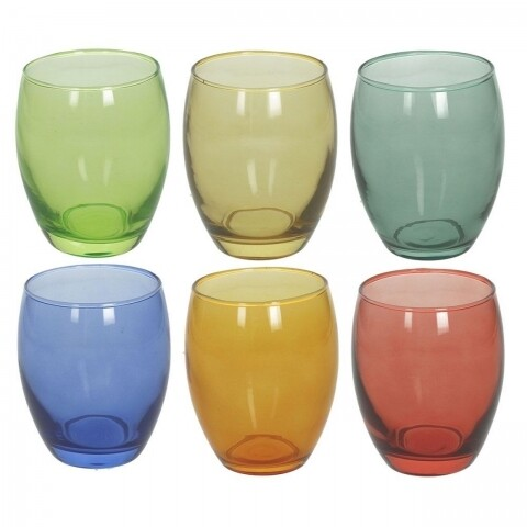 Set 6 pahare din sticla Golf Summer, Tognana, sticla, multicolor
