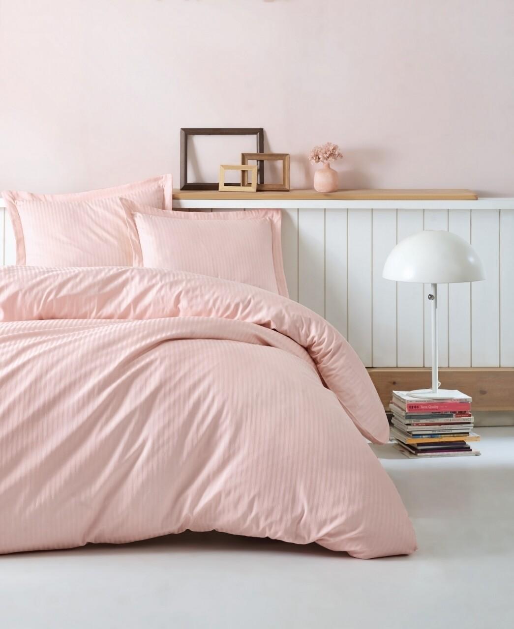 Lenjerie de pat dubla, 4 piese, 100% bumbac satinat, Cotton Box, Premium Stripe, roz