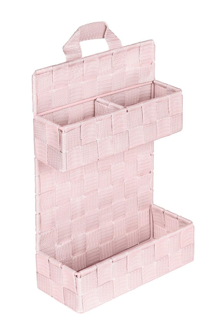 Organizator cu montare pe usa 3 compartimente, Wenko, Adria Small Mini, 21 x 32 cm, 100% polipropilena, roz
