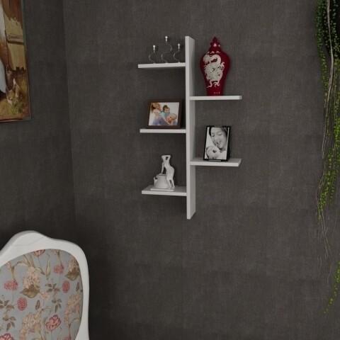 Raft pentru perete, Wooden Art, Atlantic White, 49.8x90x14.5 cm