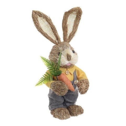 Decoratiune Rabbit whit carrot, InArt, 13x11x33 cm, multicolor