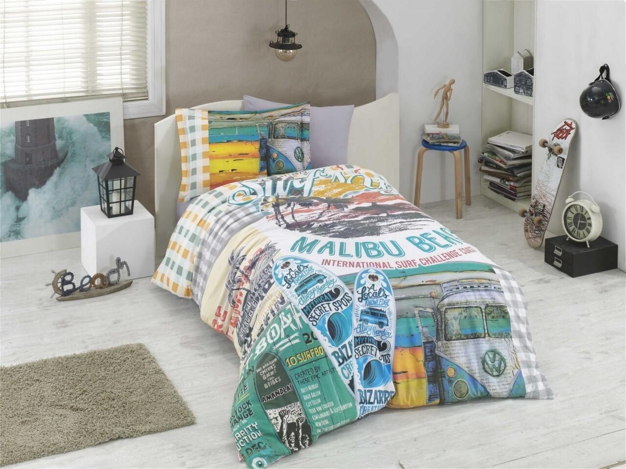 Lenjerie de pat pentru o persoana, 3 piese, 100% bumbac poplin, Hobby, Malibu Beach Multy, multicolora