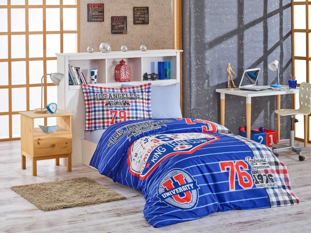 Lenjerie de pat pentru o persoana, 3 piese, 100% bumbac poplin, Hobby, Collage, multicolora