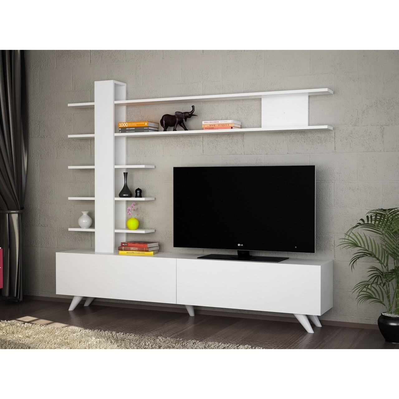 Comoda TV cu raft, Wooden Art, Aleyna White, 180x161.5x31.6 cm