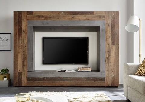 Mobilier living, Rock Betonoxid, 226 x 163 x 40 cm, PAL/MDF, maro/gri