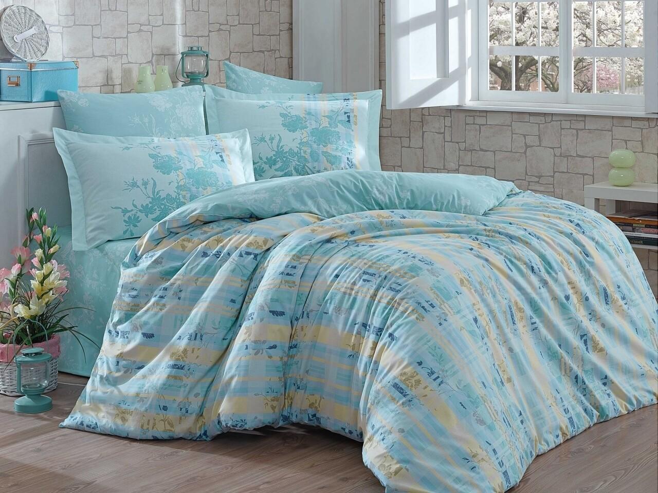 Lenjerie de pat pentru o persoana, 3 piese, 100% bumbac poplin, Hobby, Elenora, verde