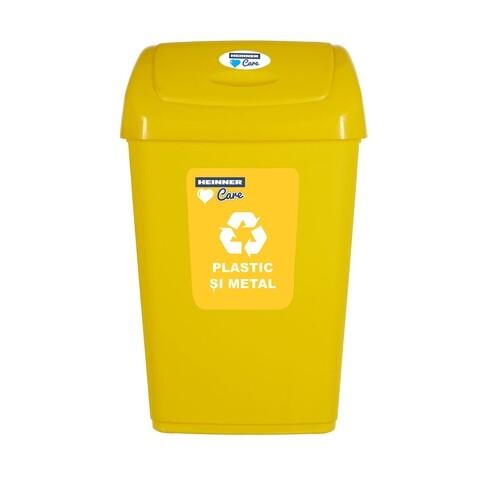 Cos de gunoi cu capac batant pentru reciclare selectiva, Heinner, 25 L, galben
