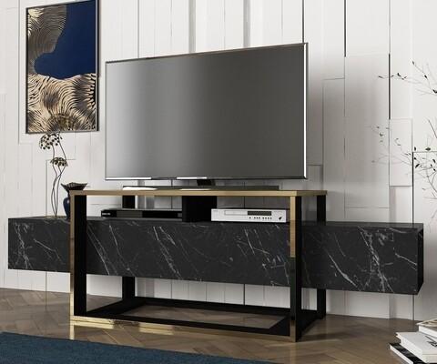 Comoda TV Bianco, Talon, 160 x 46.1 x 49.8 cm, negru/auriu