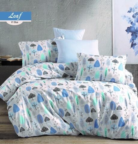 Lenjerie de pat pentru o persoana Leaf V1, Majoli Home Collection, 3 piese, 160x240 cm, bumbac ranforce, multicolor