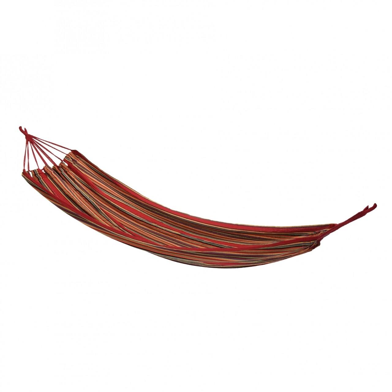 Hamac Relax, 200 x 100 cm, 60% bumbac si 40% poliester, rosu/portocaliu