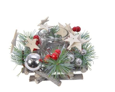 Coronita decorativa cu 1 suport pentru lumanare Pinecone, Decoris, multicolor