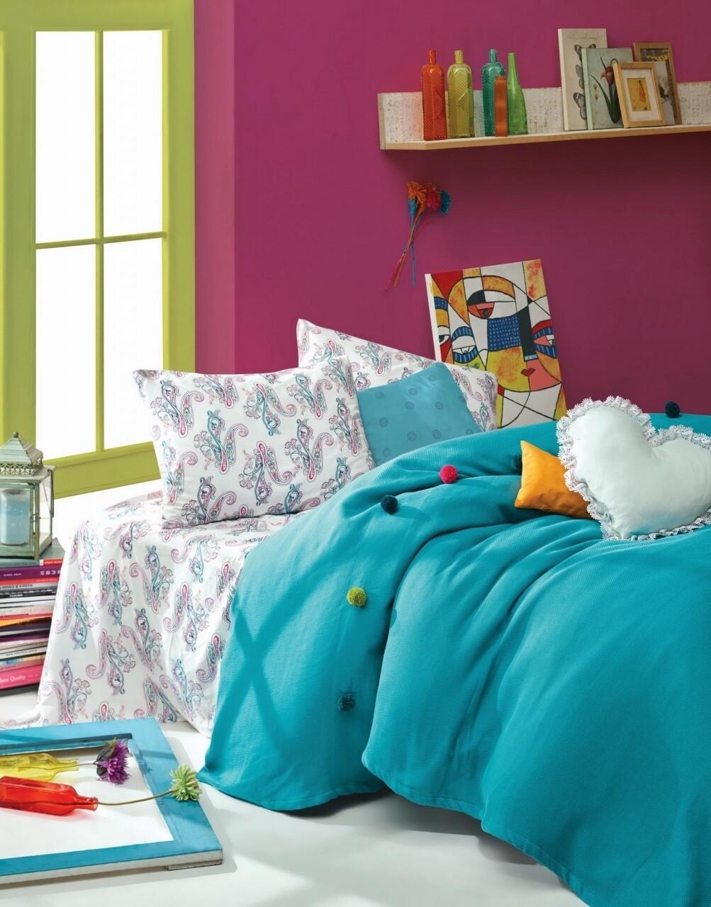 Set lenjerie de pat + cuvertura dubla, 3 piese, 100% bumbac ranforce, Cotton Box, Cotton Box, Fancy Turquoise