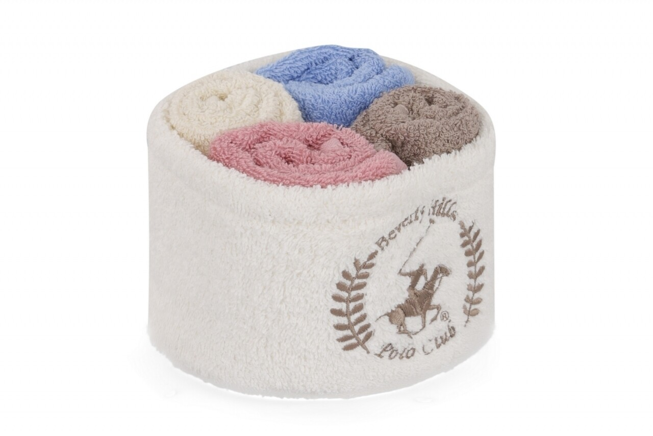 Set 4 prosoape de baie cu cos alb, Beverly Hills Polo Club, 30x30 cm,  100% bumbac, alb/albastru/maro/roz