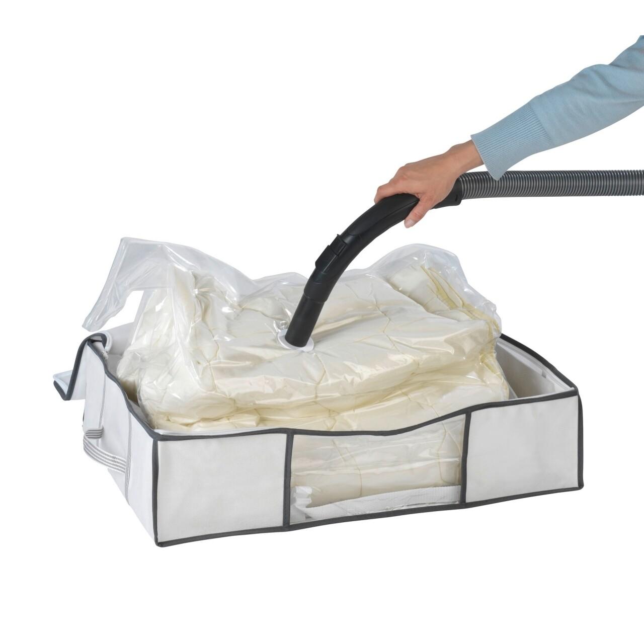 Cutie cu sac pentru vidat Vacuum Soft Box, Wenko, 65x50x15 cm, polipropilena/ polietilena, alb