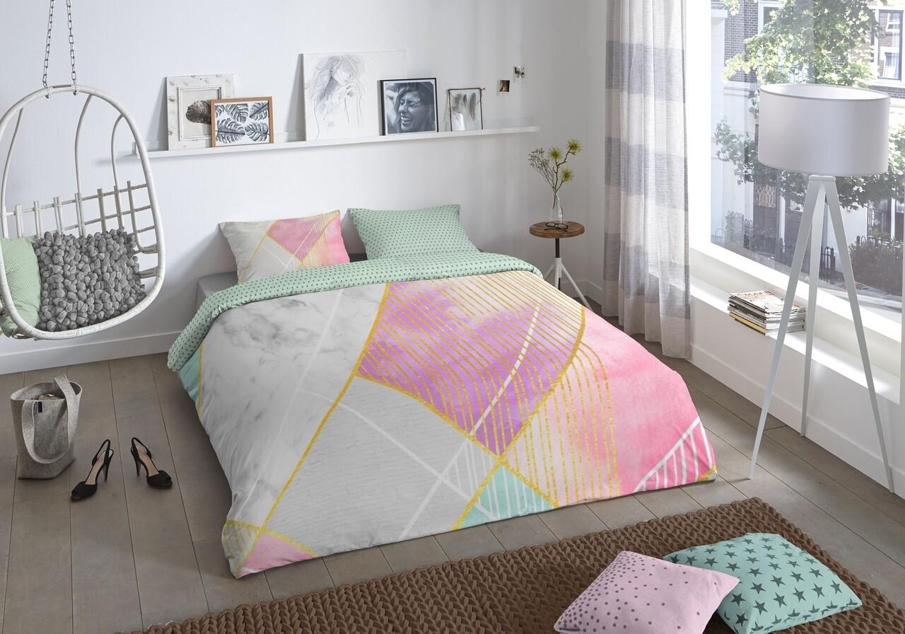 Lenjerie de pat pentru doua persoane, Good Morning Rhonda, 100% bumbac, 3 piese, multicolora