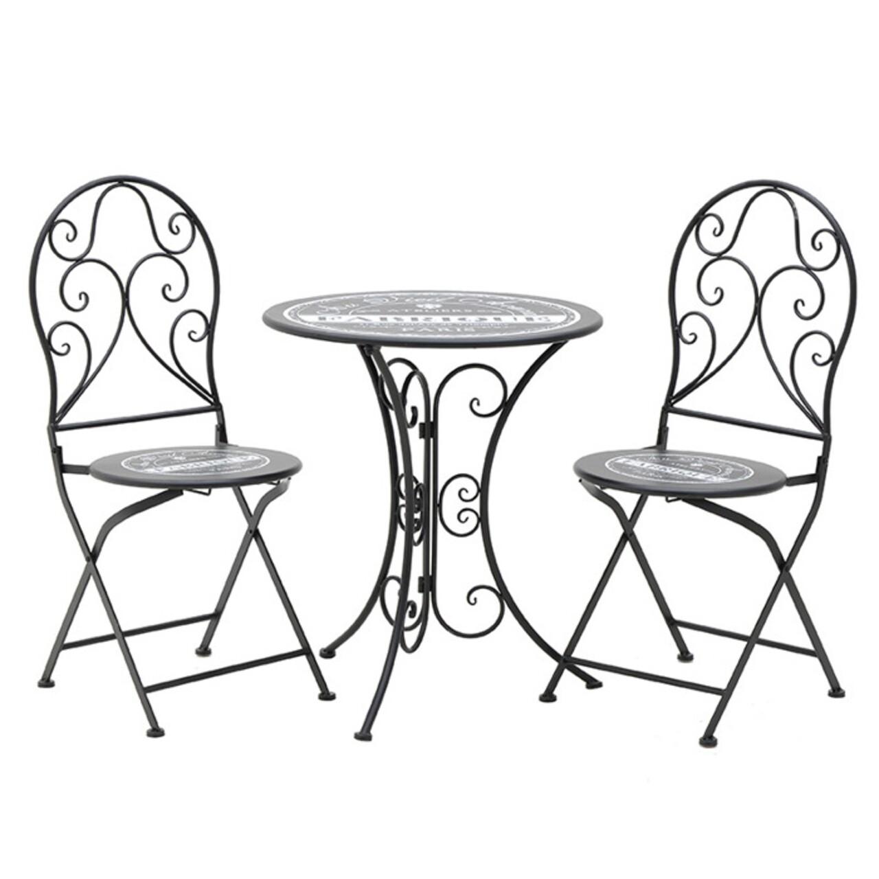 Set mobilier de gradina Au Vieil Acacia, InArt, 3 piese, negru