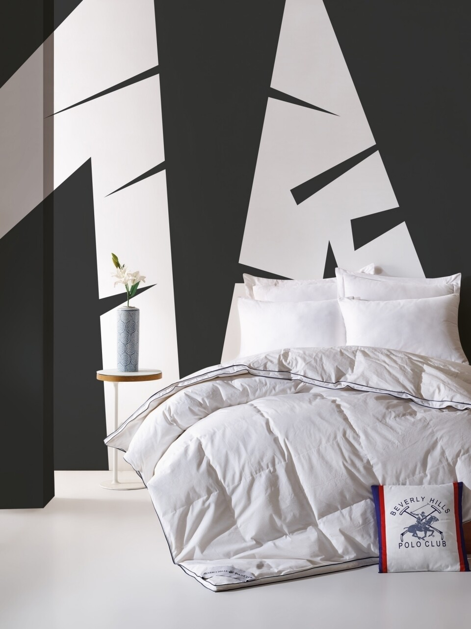 Cuvertura de pat, matlasata, 195x215 cm, 100% bumbac, Beverly Hills Polo Club, Serenity White