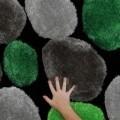 Covor Pebble Koberec Zelena, 80 x 150 cm, 100% poliester, gri/verde/negru