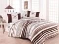 Lenjerie de pat pentru o persoana, Brown Stripes, Beverly Hills Polo Club, 3 piese, 160 x 240 cm, 100% bumbac ranforce, alb/maro