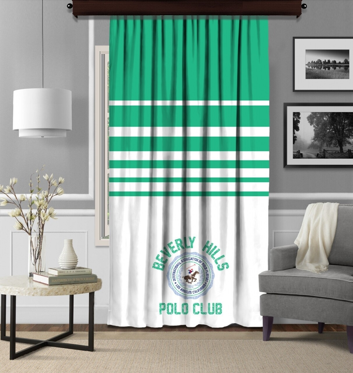 Draperie Beverly Hills Polo Club, 140x260, 100% poliester, Green /White