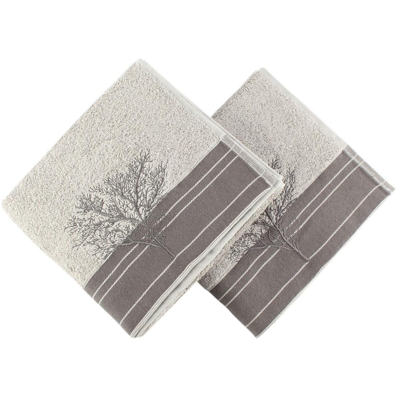 Set 2 prosoape de maini Infinity Grey, Hobby, 50 x 90 cm, 100% bumbac,  gri