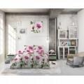 Lenjerie de pat dubla Sunshine Flowers White, Sleeptime,  3 piese, 200 x 220 cm, 80% bumbac, roz si alb