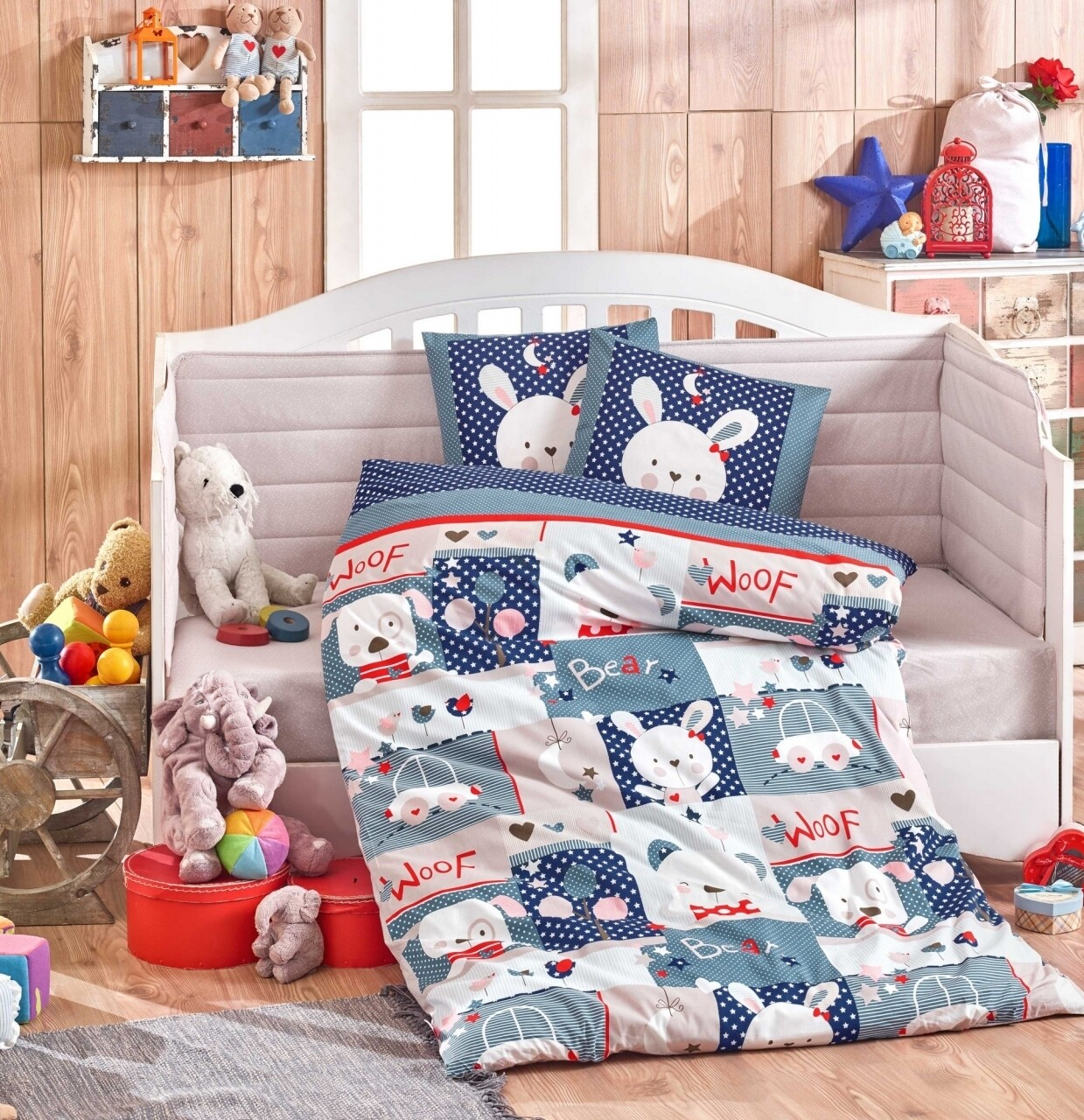 Lenjerie de pat pentru copii, 4 piese, 100% bumbac poplin, Hobby, Snoopy, bleumarin