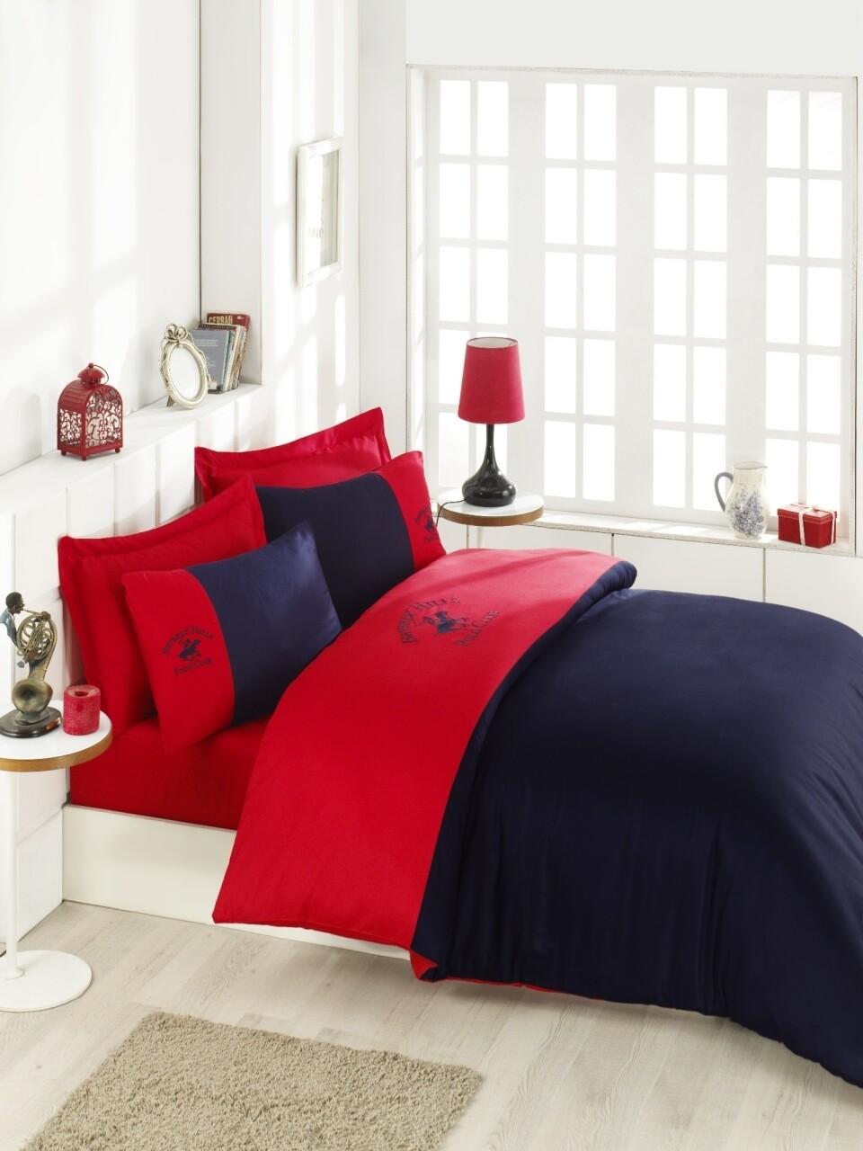 Lenjerie de pat dubla Red & Dark Blue, Beverly Hills Polo Club, 4 piese, 240 x 260 cm, 100% bumbac satinat, rosu/bleumarin