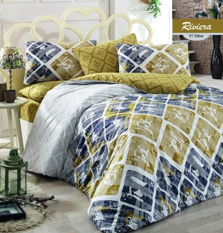 Lenjerie de pat pentru o persoana Riviera v1, Majoli Home Collection, 3 piese, 160x240 cm, bumbac ranforce, multicolor